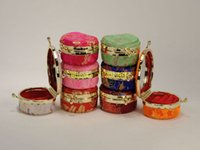Wholesale Wholesale Chinese Satin Brocade - 50pcs lot Newest Half round Portable small gift brocade Satin ring box jewelry storage box Cosmetic Case With mirror