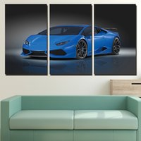 3 Pezzi Blue Roadster Car Wall Wall Art Canvas Pictures per la camera da letto Living Room Camera da letto decorazione dipinte di tela di canapa