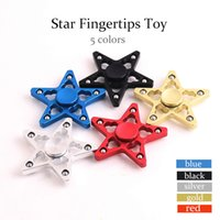 Wholesale Pentagram Metal - New findget Toy 5 Point Star Fingertips Spinner EDC Toy Aluminum Alloy Finger Top For Decompression Focus Pentagram Desgin