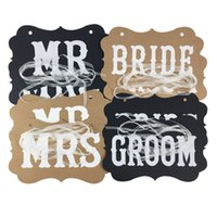 Wholesale wedding photo booth prop signs for sale - Group buy DIY MR MRS And Bride Groom Paper Board Ribbon Sign Photo Booth Props Wedding Decoration Party Favor Letter Garland Banner Party Supplies