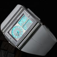 Wholesale Mens Ohsen Sports Watches - OHSEN Brand Fashion Square Electronic LED Watch Analog-Digital Mens Alarm Sport Quartz Wristwatch Wholesale W026