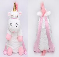 Wholesale plush bear backpack - Unicorn Cute Plush Backpacks 55 CM Cartoon Animal Doll Soft Stuffed Toy Children Kid Fluffy Bag