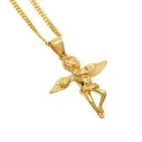 Wholesale 24k Gold Baby Jewelry - Men Gold Angel Wings Pendant Stainless steel 24K Gold Color With Rhinestone Angel Baby Pendant Necklace Hip hop Jewelry