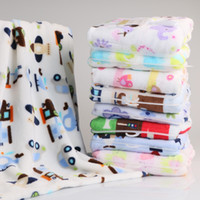 Wholesale Cartoon Print Fleece Blanket - High Quality! Flannel Baby Blanket Newborn Faux Fur Super Soft Cartoon Blankets 76x100cm For Beds Kids Fleece Throw