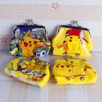 Wholesale Wholesale Patchwork Wallets - Kids Poke go Pikachu wallet frozen printed cartoon children change pocket kids coin purse girl handbag