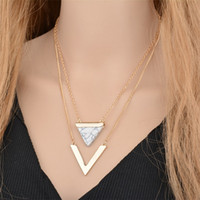Wholesale Triangle Shaped Necklace - V Letter Shape Triangle Stone Double Layer Geometric Pendant Necklaces Bijoux Statement Necklace Party Jewelry For Women Factory Wholesale