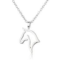 новые ожерелья моды для мужчин оптовых-Wholesale-Charm Silver Plated Pendant Necklace Horse Animal Simple Necklaces Family Friend Gifts Fashion Jewelry For Women Men Choker NEW