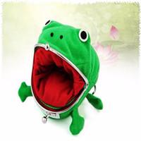 Wholesale Uzumaki Naruto Purse - Wholesale- Uzumaki Naruto Child Frog Shape Coin Purse Wallet Soft Furry Plush Gift Green