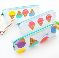 Wholesale ice cream stationery - Wholesale-1Pcs Creative Ice Cream Square Transparent Pencil Case EVA Pen Bag Kawaii Stationery Pouch Office School Supplies
