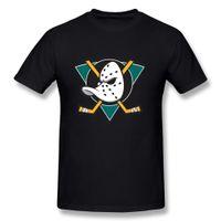 Wholesale Cheap Cotton T Shirts - Hot Cheap Men'S Hsuail Men's Mighty Ducks Of Anaheim Logo T-Shirt Novelty Cool Tops Men Short Sleeve T-shirt
