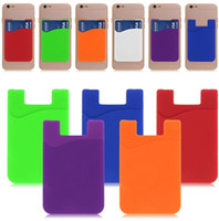 Wholesale Wholesale Silicone Wallets - Silicone Wallet Credit Card Cash Pocket Sticker Adhesive Holder Pouch Mobile Phone 3M Gadget iphone Samsung