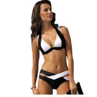 Wholesale Double Cup Bikini - 2016 Limited Newest Sexy Bikinis Womens Plus Size Cross Double Colored Padded Push Up Halter Bikini Bra Set Swimsuit Lc41249