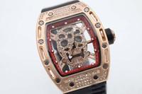 Wholesale Transparent Glass Wrist Watch - 2017 luxury Skull Tourbillon tonneau mens quartz watch wrist watches 43mm diamond skeleton watches transparent glass back mens watches