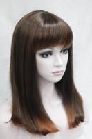 Wholesale medium length straight hair wigs - 2017 new fashion health new heat ok Cleopatra wig medium straight hair full wig cosplay theatre 2T114# free shipping