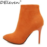 Wholesale Rose Zip - Wholesale-Sexy Women Boots Solid Flock Suede Zip High heels Boots Lady Stiletto Pointed toe Ankle Boots Martin Boot Orange Blue Rose Black