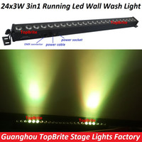 Wholesale Dmx Stage Light Bar - Wholesale- Led Wall Washer Light 24x3W RGB 3IN1 Led Wall Wash Lights Running Funtion Dmx Bar For Dj Disco Party Show Effect Stage Projector