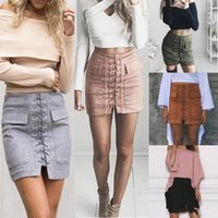 Wholesale Skirt High Waist Free Shipping - Fashion Women Girls Lace Up Styles Faux Suede Leather Fur BodyCon Slim Mini Skirts Above Knee Dresses High Waist Free Shipping