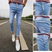 Wholesale Boys Baggy Jeans - Wholesale- 2017 new students master cool hole baggy jeans teenage boys Slim small trousers Youth Popular pencil pants.