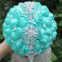 ingrosso bouquet di cristallo di cerimonia nuziale di perle blu-Blue Wedding Bridal Bouquet Nuziale Simulazione Fiore Sweet 15 Quinceanera Bouquet Fiore artificiale Perle Crystal Holding Fiore W229-2