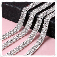 Wholesale Deco Cup - Wholesale-Wedding Decoration 10 yard 3Rows Rhinestone Crystal Chain Cake Ribbon SS12 Party Deco Sparkle Cup Chain Trim Sewing Accessories