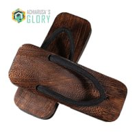 Wholesale E Got - Men sandals designer 2017 heel flip-flops man Japanese Geta Wooden bathroom antiskid Slippers Cosplay shoes costumes clogs GET-1