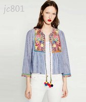 Wholesale Ethnic Striped Printed Geometric Heavy Hand Sewn Embroidery Summer O neck Coat Ball Tassel Cardigan Femme
