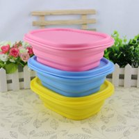 Wholesale 10 Creative portable lunch box Folding strenched silicone bowl lunch box with cover food grade Outdoor Tableware Folding Bowl for sala