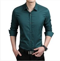 Wholesale- 2016 New Fashion Casual Men Clothes Slim Fit Men Camisa de manga comprida Polka Pure Cotton Dot l Men Social Shirt Plus Size 5XL