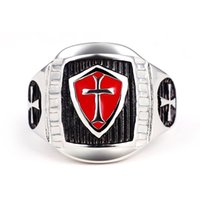 Acero inoxidable Titanium Red Armor Shield Knight Templar Crossusa Signet Anillo Medieval Signet Retro Vintage