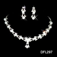 Wholesale Silver Earrings Stones - Cheap $0.99 Hot Sale Holy White Rhinestone Crystal Flower Pearls Earring Necklace Set Bridal Party Bridal Jewelry