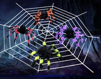 Wholesale Soft Rubber Spiders - Wholesale-30CM Soft Plush Fluffy Imitate Spider Funny tricky brains Toy Scary Red Eyes for Halloween Decoration Party Stage Props