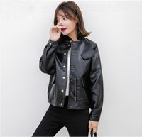 Wholesale Korean Leather Overcoat - 2018 Korean new spring Fall female short jacket loose PU Leather Jacket coat motorcycle leather jacket small coat casual leather Overcoat