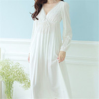 Wholesale Nightdress White - Wholesale- Autumn Vintage Nightgowns V-neck Ladies Dresses Princess White Sexy Sleepwear Solid Lace Home Dress Comfortable Nightdress #H13