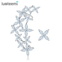 Wholesale Flower Ear Cuff Stud Earring - New Arrival Luxurious Vintage Flower Ear Cuff Stud Earrings with Cubic Zirconia White Gold Color Accessories Wholesale LUOTEEMI