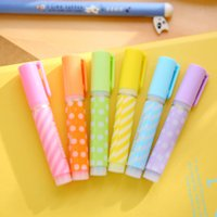 Wholesale Mini Promotional Boxes - Wholesale- 6Pcs Set Mini Cute Dots Colorful Candy Color Highlighters Promotional Markers Kids Gift Stationery Office School Supplies