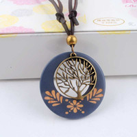 Wholesale Wooden Tree Necklace - Wholesale-Antique Vintage Long Rope Chain Necklace Wooden Alloy Tree Pendants Neckless Cord Men Jewelry Accessories Free Shipping