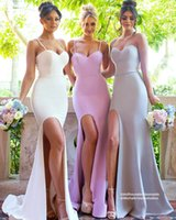 Einfache Meerjungfrau Lange Brautjungfer Kleider Hell Lila Flieder Satin Seite Split Spaghetti Straps Backless 2017 Günstige Maid of Honor Party Kleider