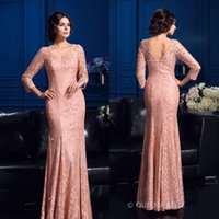Modest Long Sleeves Mutter der Braut Kleider Mantel Meerjungfrau Abend Party Kleid V Neck Custom Made Lace Kleid Open Back Boden Länge