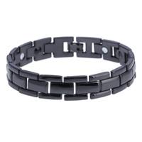 Wholesale Man Magnetic Therapy - Hot Sales Men Healthy Magnetic Bracelet Bangle Punk Black Magnetic therapy Charm Bracelets Factory Price Wholesale