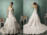 Wholesale Satin Lace Ballgown Wedding Dresses - Classic Satin Ballgown Wedding dress bridal beaded Lace Bodice Applicues long Cathedral Royal Train Custom made