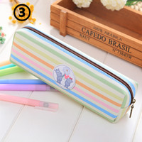 Wholesale Sheep Pencil Case - Rainbow Color Cute Pencil Case PU 20*6cm Stationery Phone Bag Sheep Cat Hippo Office and School Supplies Multifunction Pencil Bag
