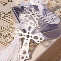 Wholesale cross bookmarks favors resale online - Silver Hollow Out Cross Metal Bookmark With White Silk Tassel Baptism Presents Wedding Favors Gift ZA4413