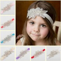 Купить Эластичные Повязки-Baby Girls Headband Infant Kids Rhinestone Elastic Leaf Shape Hairband Handmade Hair Bands Детские аксессуары для волос Party Headwear