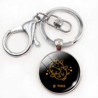 Wholesale Zodiac Key Chains - Birthday Christmas Gift Cute Cartoon Pattern 12 Constellations Zodiac Signs Keychains Aries Gemini Round Key Chain Rings Jewelry