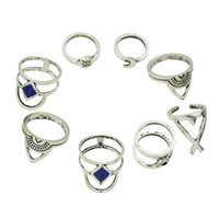 Wholesale Ethnic Silver Rings - 8pc set Boho Jewelry Antique Silver Color Blue Enamel Geometric Moon Circle Finger Ethnic Knuckle Midi Rings sets for Women