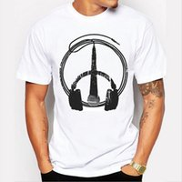 Wholesale microphone collar - 2017 men summer hot men's headset microphone pattern printing wild short-sleeved white T-shirt fashion O-collar sandals free shipping