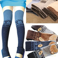 Wholesale acrylic snowflakes - Wholesale- Women Snowflake Thigh High Leg Warmers Socks Winter Over Knee Boot Cuff