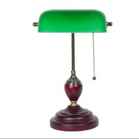 No paint wood desk - led e27 American Vintage Green Glass Wooden LED Lamp LED Light Table Lamp Desk Lamp LED Desk Lamp For Office Bedroom Study