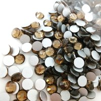 Wholesale Shiny Flat Stones - SS3-SS30 Smoked Topaz Color silver foiling back nail arts small flat back beads Non Hotfix Rhinestone loose shiny stone