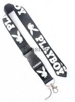 Wholesale cell phone chain holder for sale - Group buy New Super Playboy Lanyard Keychain Key Chain ID Badge cell phone holder Neck Strap